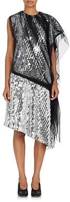 Maison Margiela WOMEN'S MESH & PAILLETTE-EMBELLISHED TULLE SHIFT DRESS