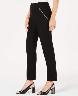 JM Collection Zip-Pocket Stretch Straight-Leg Pants