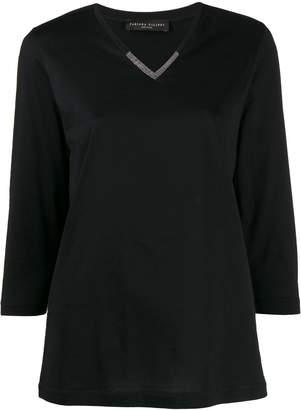 Fabiana Filippi embellished 3/4 sleeves T-shirt