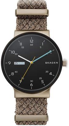 Skagen Men's Ancher Beige Nato Nylon Strap Watch 40mm