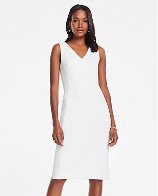 Ann Taylor Petite Textured Jacquard V-Neck Sheath Dress