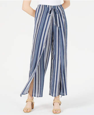 BCX Juniors' Printed Wrap-Front Wide-Leg Pants