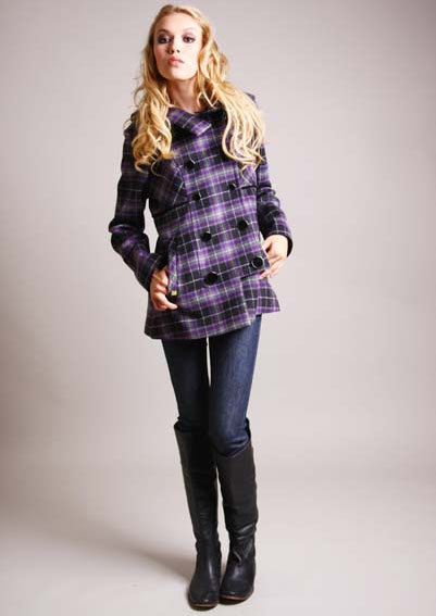 Soia & Kyo Purple/Black Plaid Lya Jacket