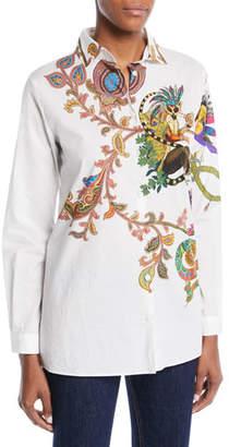 Etro Lemur-Print Button-Front Long-Sleeve Cotton Shirt