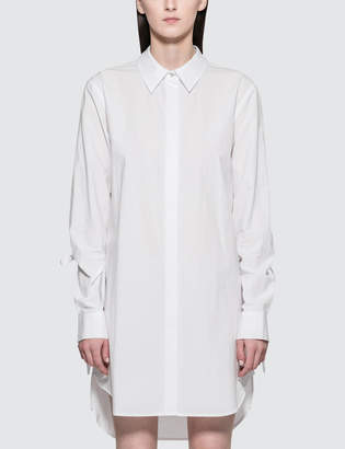 Alexander Wang Washed Cotton Poplin L/S Shirt Dress With Sleeve Ties