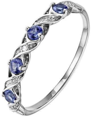 Love GEM 9ct White Gold Tanzanite and Diamond Set Kiss Eternity Ring