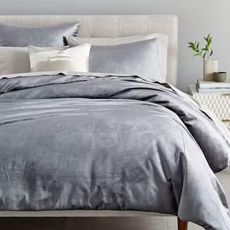west elm Washed Cotton Luster Velvet Duvet Cover - Pewter