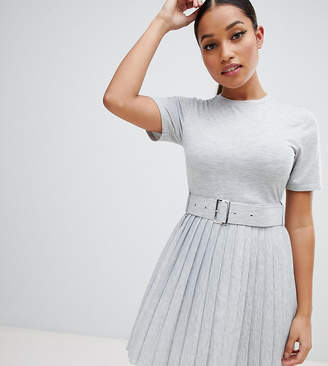 Asos DESIGN Petite mini dress with pleated skirt and belt