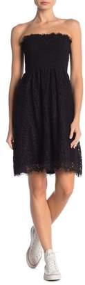 Velvet by Graham & Spencer Kareese Smocked Strapless Lace Dress