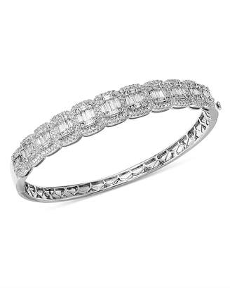 Bloomingdale's Diamond Round & Baguette Statement Bangle in 14K White Gold, 3.0 ct. t.w. - 100% Exclusive