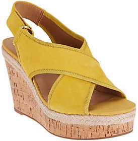 As Is Franco Sarto Suede or Leather Slingback Strap Wedges - Taylor $39 thestylecure.com