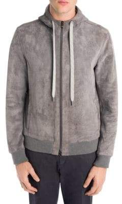 Ermenegildo Zegna Leather Zip-Up Hoodie