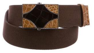 Prada Crocodile-Trimmed Surplus Belt