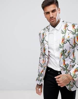 Asos DESIGN Super Skinny Blazer With Pink Bird Print