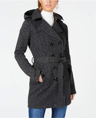 BCX Juniors' Hooded Belted Peacoat