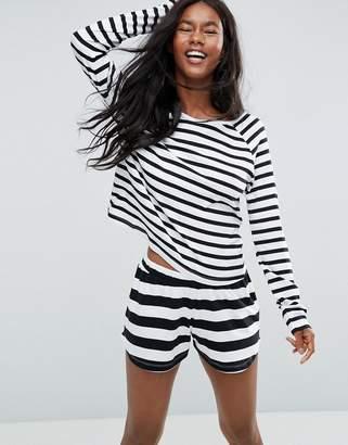 Asos Design & White Stripe Long Sleeve Long Sleeve Tee & Short Pyjama Set