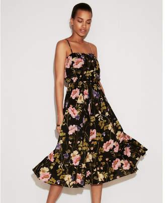 Express floral empire waist crinkle midi dress