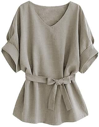 story. Fashion Women Vogue V-neck Linen Wide Hem Plus Size Tunic Blouse Tee T-Shirt Tops