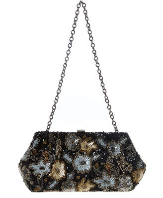 Santi Black Sequin Floral Clutch