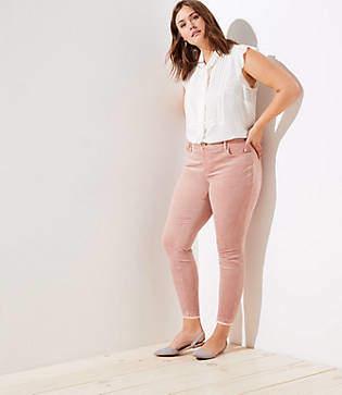 LOFT Plus Modern Frayed Corduroy Skinny Pants