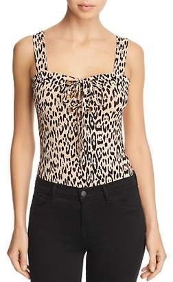 GUESS Franchesca Lace-Up Leopard Print Bodysuit