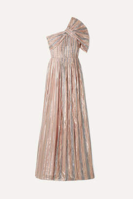 Peter Pilotto One-shoulder Striped Silk-blend Lurex Gown - Metallic