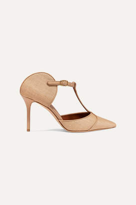 Malone Souliers Imogen 85 Leather-trimmed Raffia Pumps - Beige