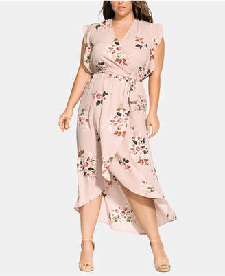 City Chic Trendy Plus Size Wrap Rose Play Maxi Dress