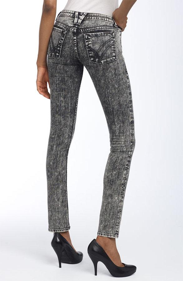 William Rast 'Jerri Patchwork Pocket' Skinny Stretch Jeans (Black Acid Wash)