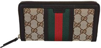 Gucci Vintage Web GG Canvas Zip Around Wallet