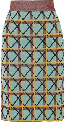 ALEXACHUNG Metallic Jacquard-knit Skirt - Jade