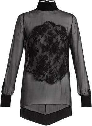 Lace-appliqué high-neck sheer silk blouse