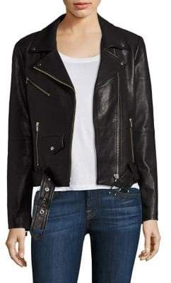 Veda Jayne Belted Leather Moto Jacket