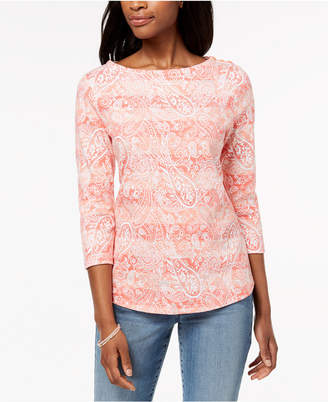 Charter Club Button-Shoulder Print Top