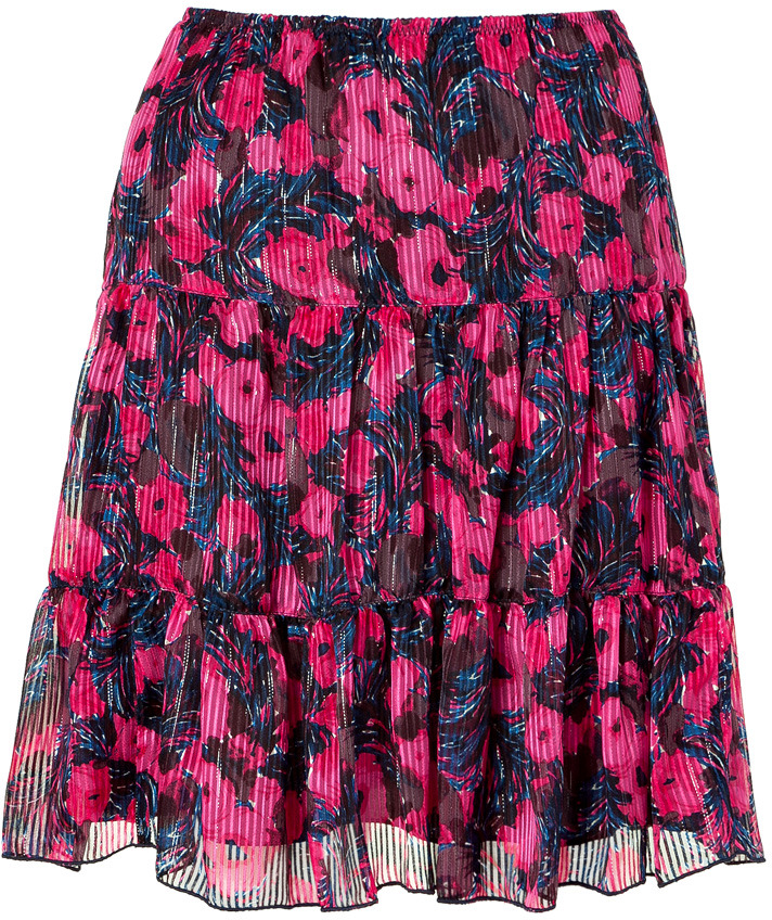 Anna Sui Hot Pink Multicolored Printed Skirt