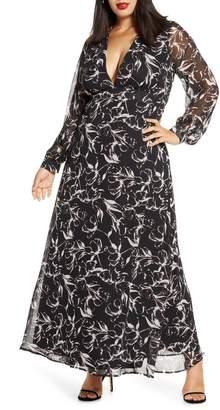 Leith Deep-V Long Sleeve Maxi Dress