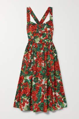 Dolce & Gabbana Pleated Floral-print Cotton-blend Poplin Midi Dress - Red