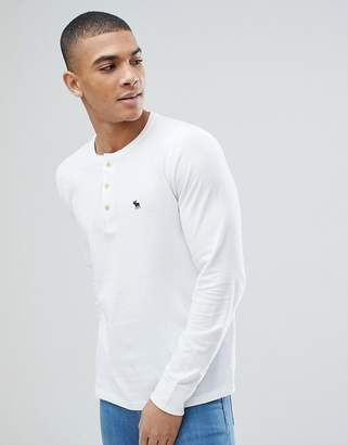 Abercrombie & Fitch Henley Contrast Placket Long Sleeve Top Logo in White