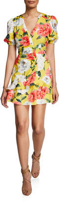 Parker Minna Floral Puff-Sleeve Mini Cotton Dress