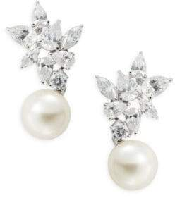 Nadri Crystal Cluster and Faux Pearl Drop Earrings