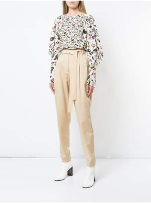 Jason Wu Grey By Painterly Floral Ruffle Sleeve Top