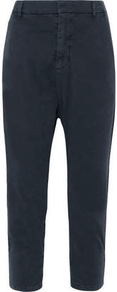 Nili Lotan Paris Cropped Cotton-blend Twill Pants - Navy