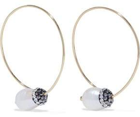 Kenneth Jay Lane Gold-Tone Crystal And Faux Pearl Hoop Earrings