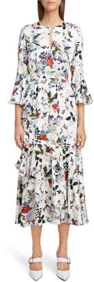 Erdem Floral Silk Satin Frill Midi Dress