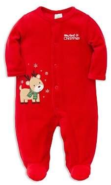 Little Me Unisex My First Christmas Velour Reindeer Footie - Baby