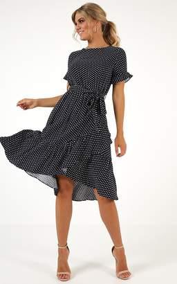 Showpo Made It Work dress in navy polkadot