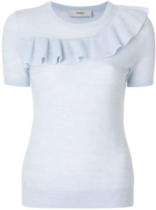 Pringle frill front short sleeve sweater