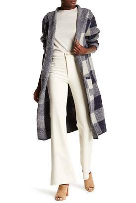 Joseph A Hooded Maxi Big Plaid Cardigan