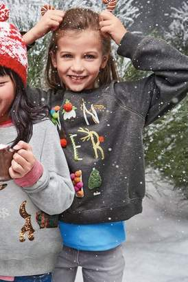 Next Girls Charcoal Christmas Pom Pom Sweat Crew (3-16yrs)