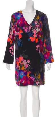 Nicole Miller Silk Long Sleeve Mini Dress